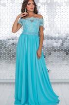 A-Line Floor-Length Off-The-Shoulder Short Sleeve Chiffon Lace Pleats Lace-Up Dress