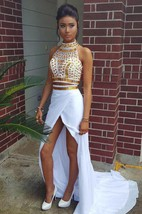 Glamorous Halter Crystals Chiffon Two Pieces Prom Dress 2016 Front Split