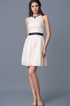 Sleeveless Beaded Neckline Short Lace Dress With Satin Belt