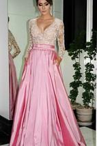 Elegant A-Line V-neck Prom Dresses Long Sleeve Evening Dresses With Beadings