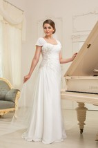 A-Line Long Square-Neck Cap-Sleeve Corset-Back Chiffon Dress With Ruching And Appliques