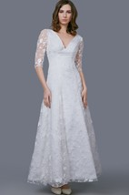 Stunning V-Neckline Tea Length Gown With Illusion Sleeve and Embroidery