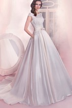 A-Line Long Bateau-Neck Cap-Sleeve Lace-Up Satin Dress With Bow And Pleatings
