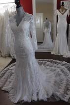 Mermaid Lace V-Neck Bridal Dress With Illusion Back