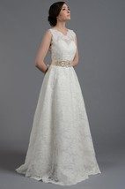 Sleeveless A-Line Lace Dress With Crystal Detailed Waistbelt and Deep-V Back