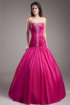 Taffeta A-Line Ball Gown With Ruching and Beaded Bodice