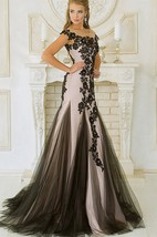 Mermaid Sweep Jewel Short Sleeve Tulle Pleats Appliques Lace-Up Dress