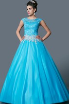 Classic Bateau Neck Lace and Tulle Ball Gown