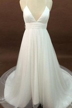 V-Neck Tulle A-Line Gown With Spaghetti Straps and Lace Back