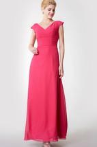 Modern Cap-sleeved Ruched Long Chiffon Dress