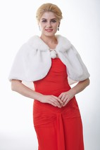 Faux Fur Bridal Wrap With Balls And Pleats