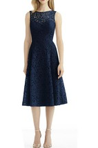 Illusion Lace Tea-length A-line Bridesmaid Dress with V Back