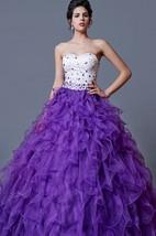 Flamboyant Glam Beaded Bodice on Ruffled Ball Prom Gown