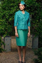 Satin Sheath Knee Length Dress With 3-4-sleeved Lace Jacket