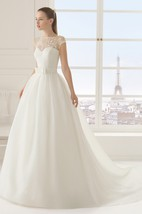 Long Romantic Cap-Sleeved Dress With Lace Bodice