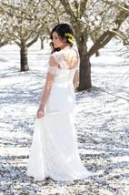 V-Neck Sheath Cap Sleeve Long Lace Dress With Sash