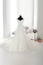 Cap Sleeve Trumpet Lace Gown With Lace-Up Back