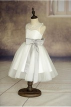 Lace Illusion Neck Sleeveless Tulle Ball Gown With Satin Bow and Sash