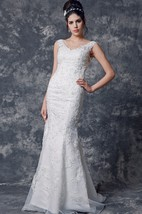 Stupefying Cap-sleeved V Neck Trumpet Lace Gown With Open Back