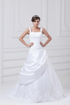 Gossamery a Line Strapped Sleeveless Satin Organza Wedding Dresses