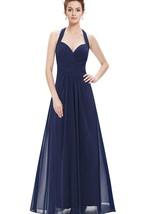 Floor-length Halter Pleated Chiffon Dress