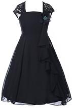 Cap-sleeved Square-neck Chiffon Dress With Key-hole Back