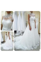 High Neck Sleeveless A-line Tulle Gown With Lace Illusion Bodice