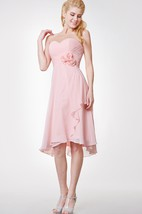 Sweetheart High Low A-line Chiffon Dress With Flowers and Side Draping