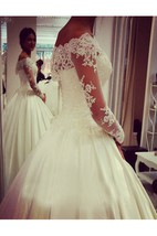 Off-shoulder Lace Illusion Long-sleeved Satin Ball Gown