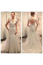 Deep V-neck Cap Sleeves A-line Lace Gown With Back Keyhole