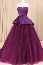 A-Line Floor-Length Sweetheart Sweep Train Zipper Corset Back Tulle Lace Satin Dress