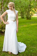 Lace Cap Sleeve High Neck Sheath Gown With Beaded Waistband