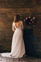 3-4 Sleeve Bateau Neck Chiffon Dress With Lace Bodice