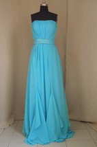 Evening Sexy Prom Dresses 2016 Blue Beading Sashes Strapless Sheath Dresses