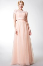 Short Sleeve Bateau Neck Long Tulle Dress With Satin Sash