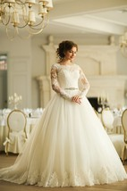 Ball Gown Long Bateau Long-Sleeve Corset-Back Tulle Dress With Appliques And Waist Jewellery
