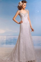 A-Line Long Queen-Anne Sleeveless Keyhole Lace Dress With Beading