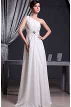 One Shoulder Floor Length A-Line Gown With Crystal Detailings
