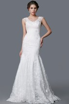 Glamorous Scoop Neckline Lace Mermaid Dress With Deep V-Back