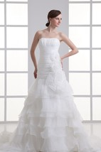 Amazing Satin Organza Strapless Sleeveless a Line Most Wedding Dresses