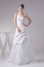 Sleeveless Pick-Up Embroidered Sweep Train and Gown With Corset Back