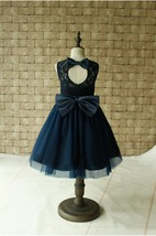 Scoop Neckline Sleeveless Lace Bodice Tulle Dress With Bow and Keyhole