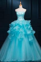 Ball Gown Long Straps Sleeveless Bell Appliques Ruffles Zipper Straps Tulle Sequins Dress