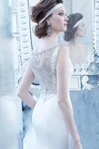 Stunning Beaded Scoop Neckline Satin Dress With Crystal Embroidered V Back