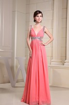 Deeply V-Neck Sleeveless Ruched A-Line Floor Length Gown With Side Keyhole and Crystal Detailing