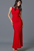 Sleeveless Scoop Neck Long Jersey Dress With Open Back
