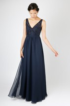 Layered Lace-Detailed A-Line Classical Gown With Deep-V Back