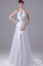 High Neck Illusion Sweetheart A-Line Satin Gown With Court Train