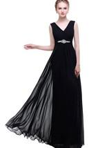 Black Empire V-neck Beaded A-line Chiffon Dress With Low-v Back