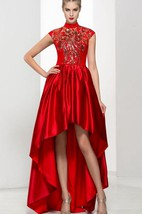 High Neck Cap Sleeves Appliques Beading Asymmetry Prom Dress